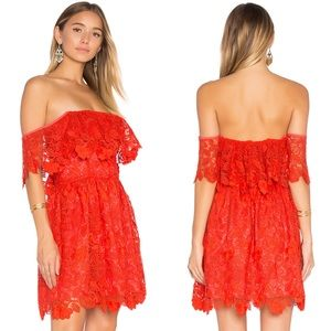 Lovers + Friends | Dream Vacay Red Lace OTS Dress